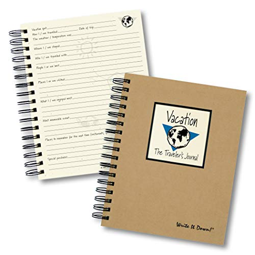"""Journals Unlimited """"Write it Down!"""" Series Guided Journal, Vacation, The Traveler's Journal (Globe), with a Kraft Hard Cover, Made of Recycled Materials, 7.5�x9� Photo #3"""