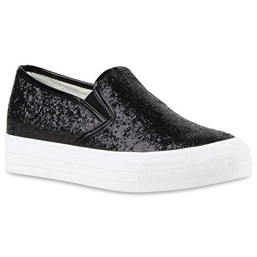 Damen Sneakers Sneaker Slip-Ons Plateau Slipper Plateau Strass Blumen Flats Animal Prints Freizeit Schuhe 118742 Schwarz 38 Flandell