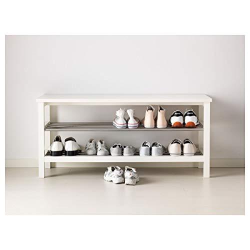 IKEA TJUSIG Bank mit Schuhablage weiß 108 x 34 x 50 cm