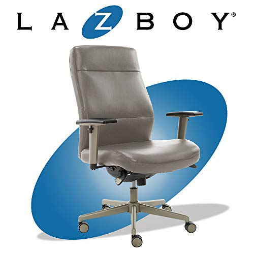 LaZBoy Baylor Modern Executive Office, Adjustable Ergonomic Computer Chair with Lumbar Support, Bonded Leather, Grey chair gaming gray