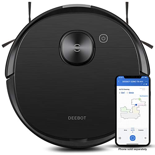 Ecovacs Deebot T8 AIVI Robot Vacuum Cleaner, Vacumming and Mopping in One-Go, Laser Mapping, Smart AI Object Recognition, On-Demand Live Video, Custom Clean, 3+ Hours of Runtime