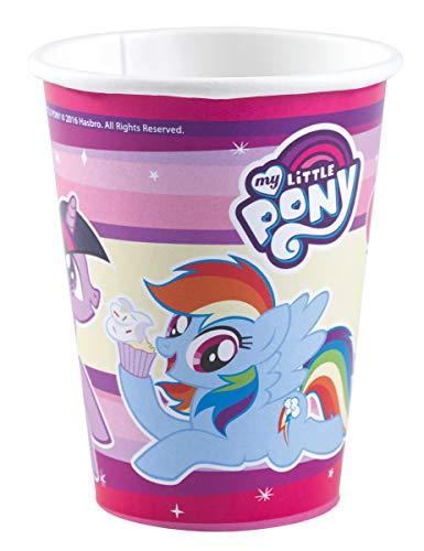 COOLMP – Lote de 3 vasos de cartón My Little Pony de 250 ml – Talla única – Decoración y accesorios de fiesta, animación, cumpleaños, boda, pequeño juguete, globo