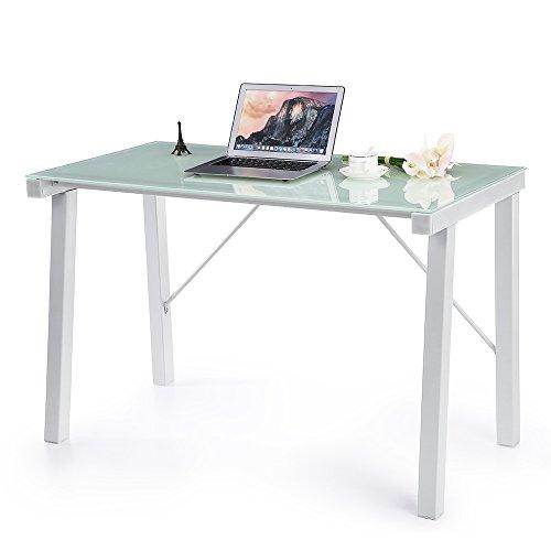 IKAYAA YS1403009 - Mesa de Ordenador Escritorio de Trabajo para Oficina Casa (MAX.120kg,De Vidrio Templado,Estilo Moderno)