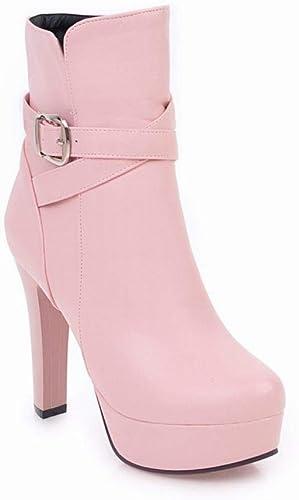 Fuxitoggo Chaussures pour Femmes - Bottes à Talons épais pour Femmes - Chaussures Taille 36-43 (Couleuré   Rose, Taille   36)