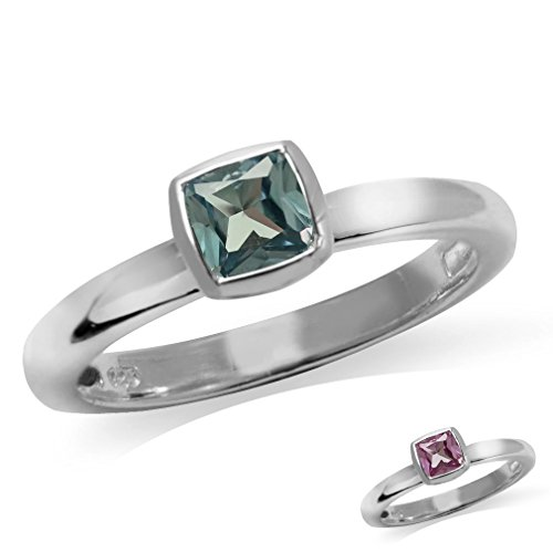 Silvershake Cushion Cut Simulated Color Change Alexandrite 925 Sterling Silver Stack Stackable Solitaire Ring Size 8.5