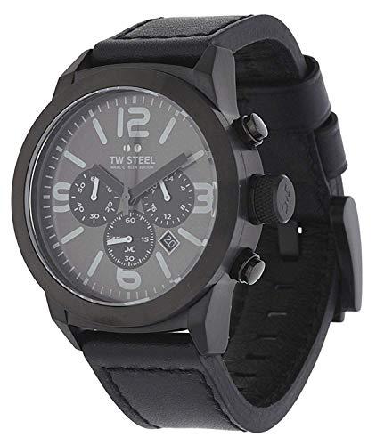 TW Steel heren chronograaf kwarts horloge met lederen armband TWMC18