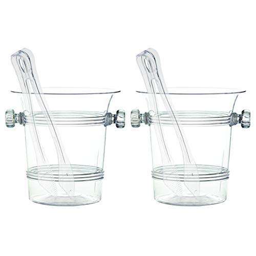 Plasticpro Hard Plastic Clear Ice Bucket Container with Tongs Pack of 2