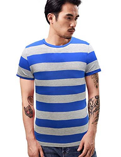 Camiseta de rayas anchas para los hombres Breton Tee rayas marinero Top algodón básico manga corta para verano playa Azul Rayas azules y grises. XXL (Pecho 42')