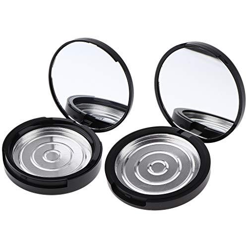 N/A/a 2X Polvo Prensado Vacío con Contenedor de Polvo de Maquillaje de Colorete Facial con Base de Espejo