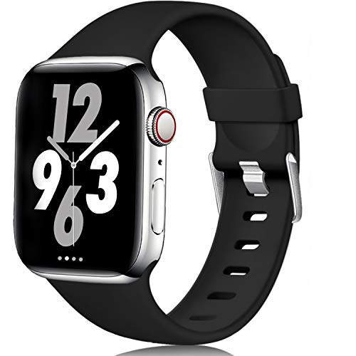 Laffav Compatible with Apple Watch Band 44mm 42mm for Women Men, Black, M/L