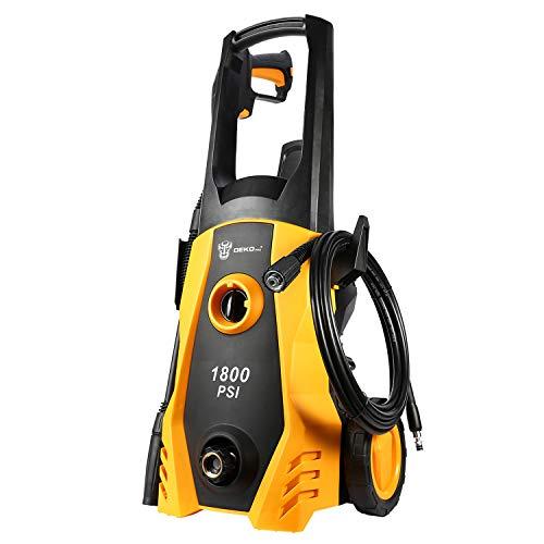 DEKOPRO Electric Pressure Washer 1800 PSI with Power Hose Nozzle Gun,Built in Foam Cannon,Orange