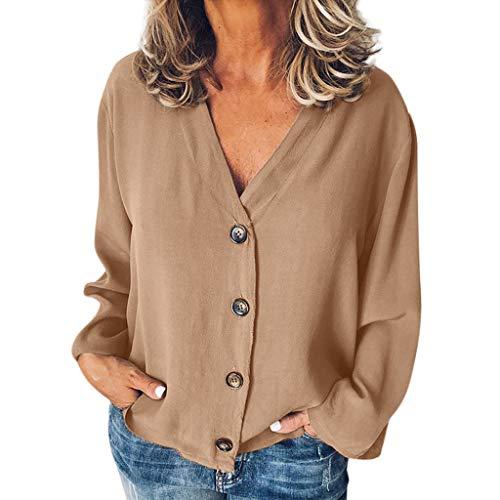 LOPILY Basic Oberteile Große Größen Damen Lässige Tunika 50 Damen Freizeit Bluse Elegant Übergröße Blusen mit Knopfleiste 50 Long Shirts Damen Herbst Basic Blusentops für Mollige (Braun, 50)