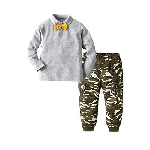 Peuter Kids Baby Jongen Gentleman Outfits Leuke Bow Tie Lange Mouwen Tops T Shirt+Camo Lange Broek Leggings Outfits Set