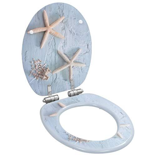 vidaXL Toilettensitz mit Soft Close Deckel Absenkautomatik Seestern-Design WC Sitz Brille Toilettendeckel Klodeckel Klobrille Toilettenbrille MDF