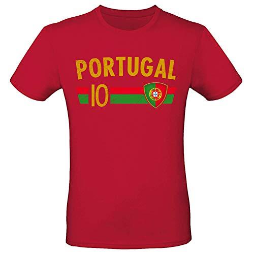 Shirt-Panda Fußball WM T-Shirt · Fan Artikel · Nummer 10 · Passend zur Weltmeisterschaft · Nationalmannschaft Länder Trikot Jersey für 2022 · Herren Damen Kinder · Portugal Portuguesa 3XL