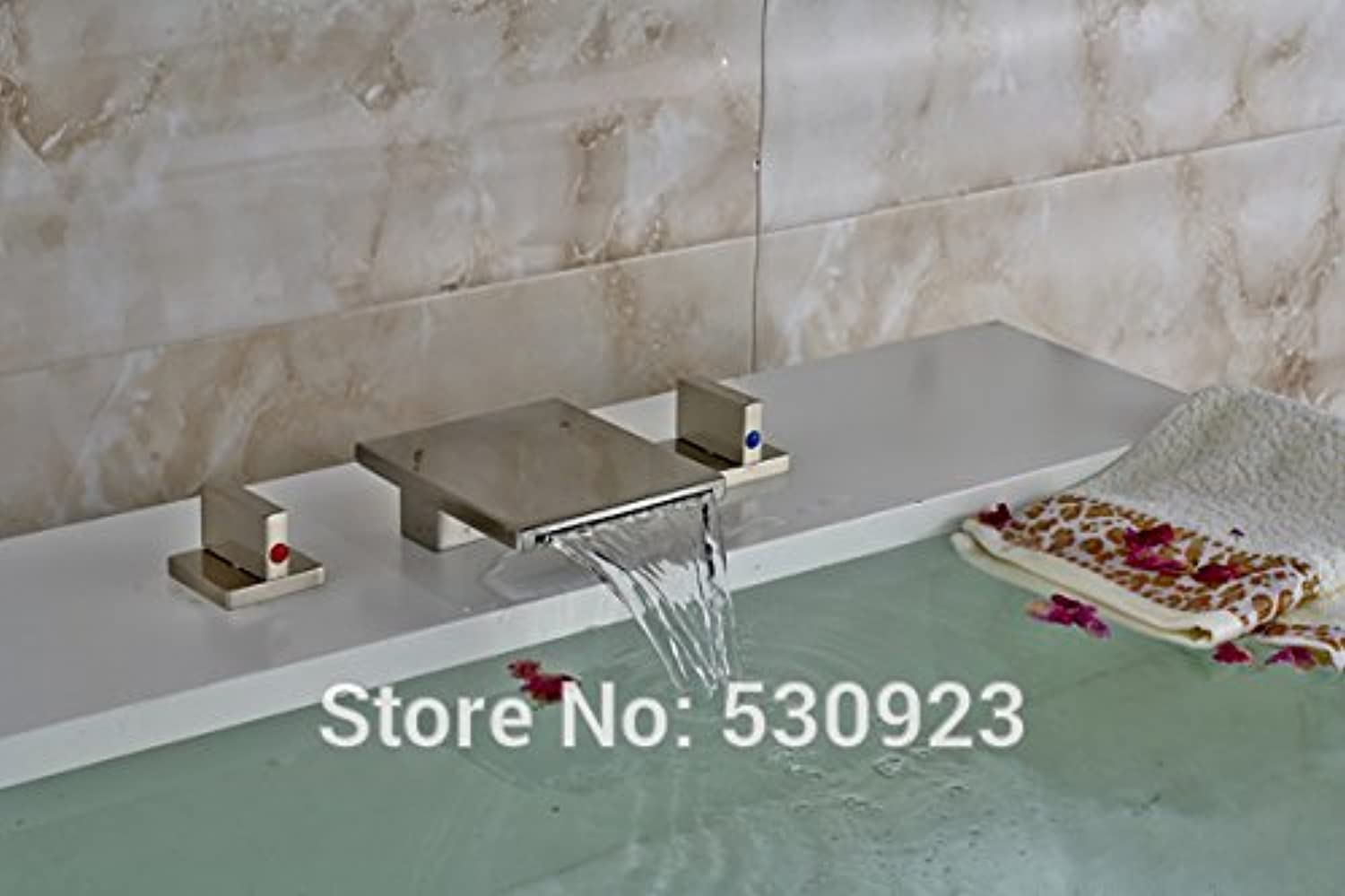 Maifeini The New Dual-Handle Three Hole Spout Waterfall Bathroom Basin Series Stylish Brushed Nickel Plated Heat Sink Boat Mixer Taps Tap