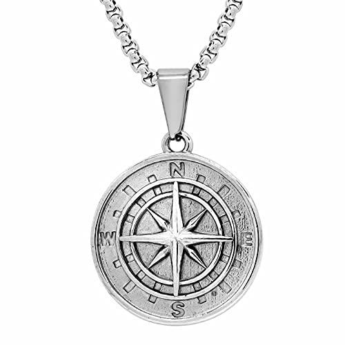LITMAKERS Kompass Anhänger Kompass Kette für Damen und Herren 316L Edelstahl Kompass Halskette