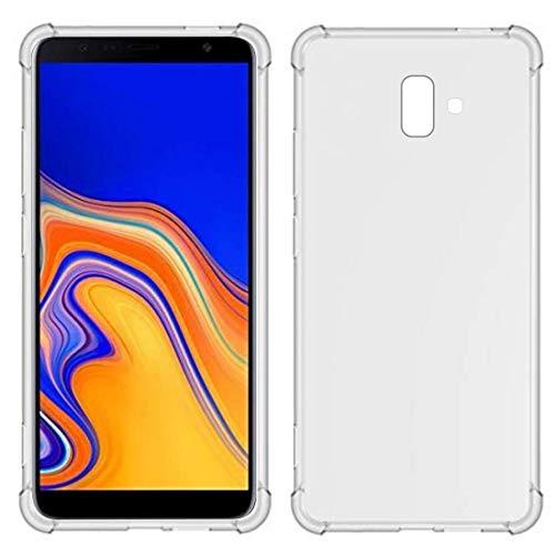 TiYa Funda para Samsung Galaxy J6+ J6 Plus J610 Carcasa Bumper,Shock-Absorción TPU Transparente con Cuatro Esquinas Espesamiento
