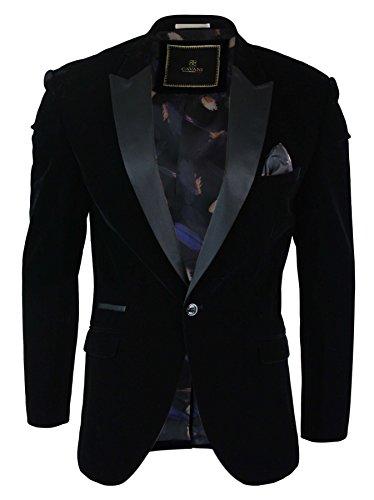 Cavani Giacca Elegante da Uomo Blazer in Velluto Morbido con 1 Bottone Slim Fit Nero 48UK, 58IT