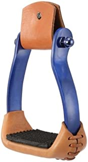 AJ Tack Wholesale Aluminum Barrel Racing Stirrups Leather Tread with Stitched on Rubber Pad