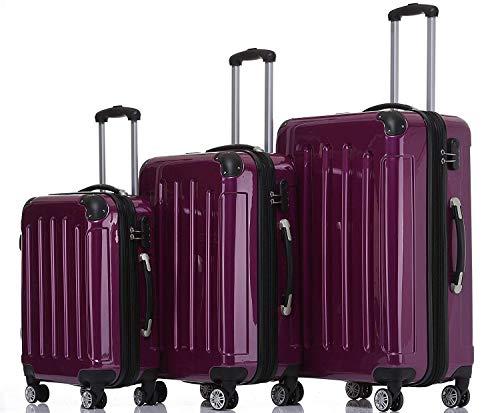 BEIBYE Hartschalen Koffer Trolley Rollkoffer Reisekoffer 4 Zwillingsrollen Polycabonat (Lila, Kofferset)