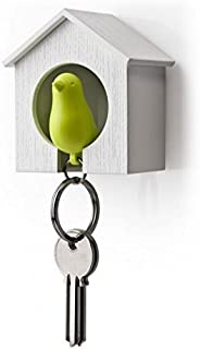 Sparrow Key Ring by Qualy Design Studio. Cool Wall Decoration - Nice and Practical Wall Mounted Keyholder and Keyring. Unusual Gift. White Birdhouse and Green Bird Keychain.