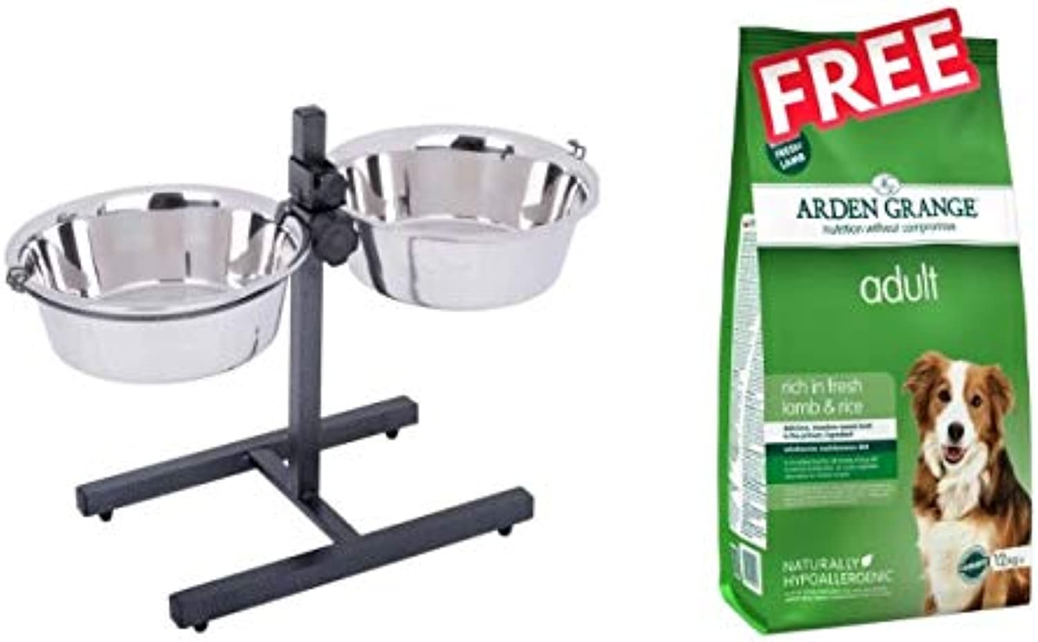 Dog Bowl Stand with 2 Stainless Steel Bowls Fully Adjustable Stand with Stainless Steel Bowls 2 x 1.6 litres Stable and Wobblefree Stand with FREE Arden Grange Adult  Lamb & Rice 2 x 12kg