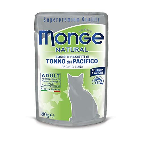Monge, Natural -  Cibo Per Gatti, Pezzetti di Tonno del Pacifico, 80 grammi, 1 Bustina