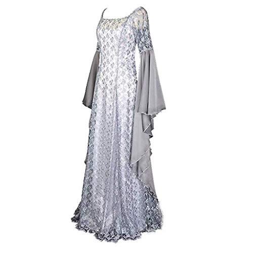 HEVÜY Damen Mittelalter Party Kostüme Kleid, Vintage Mittelalterliche Kleid Lace up Ballkleid mit Trompetenärmel Gothic Prinzessin Renaissance Partykleid Maxikleid Cosplay Kostüm