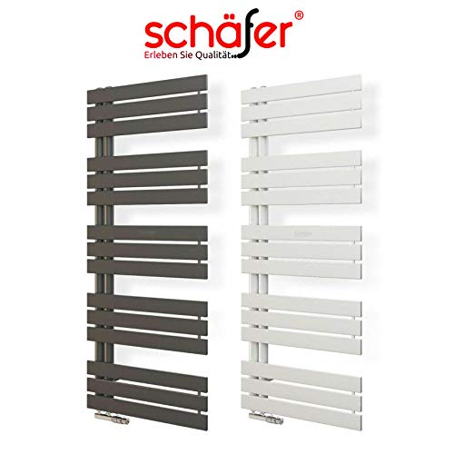 Badheizkörper 50 mm Anschluss Design Paneelheizkörper Heizung (500 x 1394 mm, Weiß)