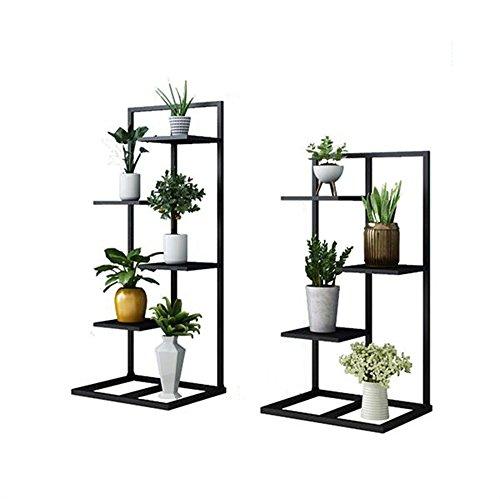 HYXI-Étagère pour plantes Support de fleur de fer de 3/4-Tier pour le balcon de salon et la mode étagère d'angle intérieure/extérieure Présentoir de pot de fleur en métal Racks de fleur debout au so