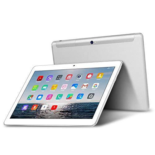 Tablet 10 Pollici - TOSCIDO Android 10.0,Quad core,4G LTE Dual Sim Carta,64 GB Memoria,RAM 4 GB,WiFi Bluetooth GPS OTG,Suono Stereo con Doppio Altoparlante – Argento