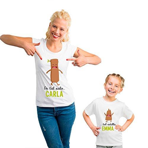 Regalo Personalizable para Madres: Pack de Camiseta para mamá + Camiseta para Hijo/a o Body para bebé De Tal Palo. Tal Astilla Personalizados con Sus Nombres
