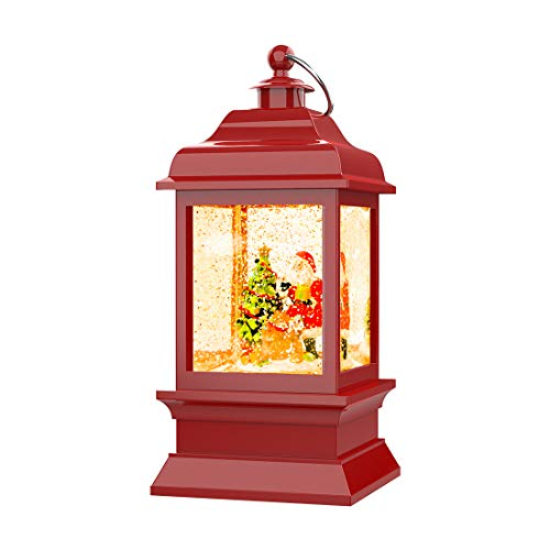 Christmas Water Glittering Snow Globe Lantern, Battery Powered Festival Ornament and Gifts for Adults and Children