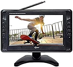 "Portable TV 10"" Battery Powered Widescreen LCD Small TV Axess TV1703-10 with ATSC Digital Tuner 2 Antennas, USB/SD Card & Headphone Inputs, AV Inputs & Full Func. Remote. Mini TV For Car, RV, Outdoor."