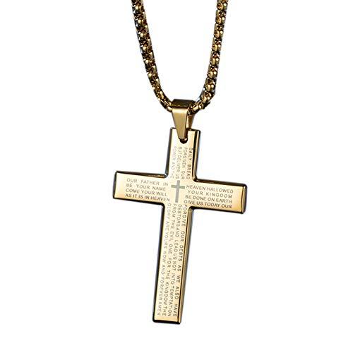 TOOGOO Collar de Cruz de Moda Colgante de Hombres Cadena de Cristal de Oro para Mujer Collar de OracióN de Cadena Regalo de Joyas Cristiana Dorado