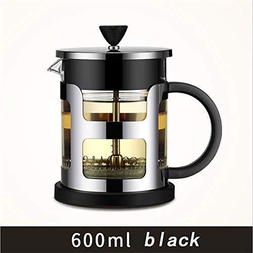 HAHT 304RVS Dikke Glazen Pot Filter Franse Pot Europese Hand Koffiepot Koffiepot en theepot Hand Koffie Pot (600ml & 1000ml), Zwart