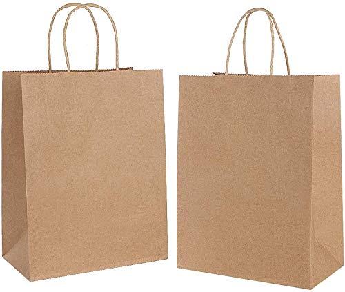 Gaoyong 20 STK Papiertüten mit Henkel,Papiertragetaschen Braun Partytüten aus Papier Für Lebensmittel Backen Merchandise Boutique Einzelhandel (verdicken 130gsm)