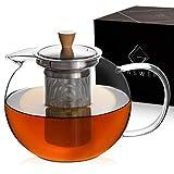GLASWERK Design Glas Teekanne (1,3L) mit entnehmbarem Edelstahl Siebeinsatz