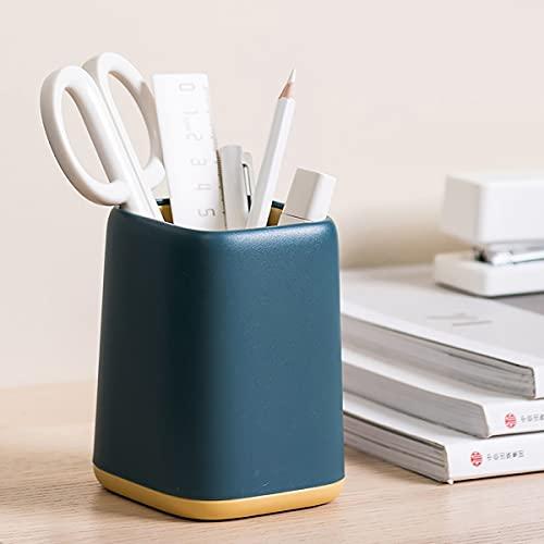 Pot à crayons en métal - Porte-stylo carré en métal - Pour le rangement des crayons - 8 x 8 x 12 cm. En acier inoxydable. Bleu