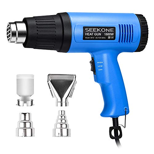 SEEKONE Heat Gun, 1800W Heavy Duty Hot Air Gun Kit with 572℉&1112℉ Dual-Temperature Settings and 4 Nozzles for Shrinking PVC,Stripping Paint, Crafts
