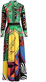 Picasso Colorful Long Dress with Belt