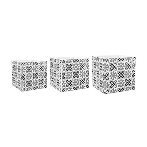 Ostaria 3-delige set bloempot vierkant mozaïek - cementtegel - 10x10xH10 / 13x13xH13 / 16x16 cm - zwart en wit