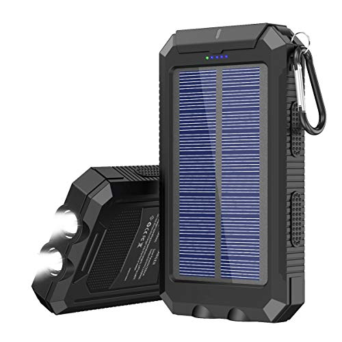 Solar Charger 20000 mAh Portable Solar Power Bank for Cell Phone Waterproof External Backup Solar...
