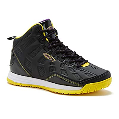 AND1 Kids Show Out Basketball Shoe, 7 M US Big Kid Black/Gold/Purple