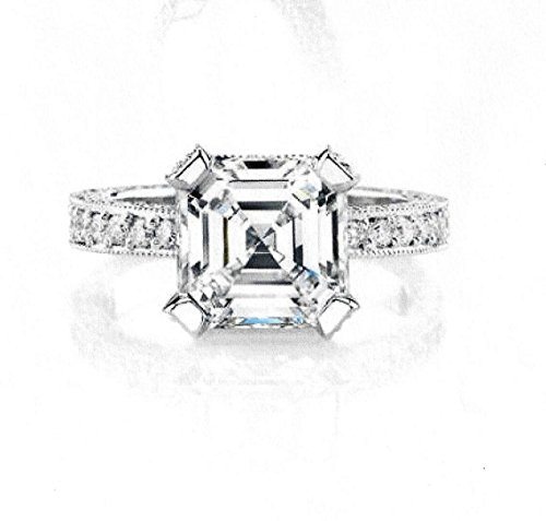 Ladies 14kt white gold pave diamond engagement ring with 2ct Asscher Cut White Sapphire and 1 carat of G-VS2 diamonds