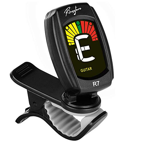 Rinastore Clip-On Tuner For Guitar, Bass, Violin, Ukulele & Chromatic Tuning Modes, Large Colorful LCD Display (R7-CS)
