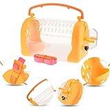 POPETPOP 1 PC Hamster Cage de Transport Extérieure pour Animaux de Compagnie Sortir Boîte Portable Cage de Transport pour Petits Animaux avec Sangle Réglable (Orange)