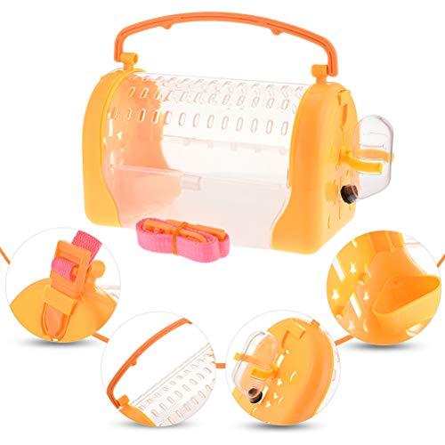 POPETPOP- 1 STÜCK Hamster Outdoor Träger Käfig Pet Go Out Box Tragbare Kleintiertransportkäfig mit Verstellbaren Gurt (Orange)