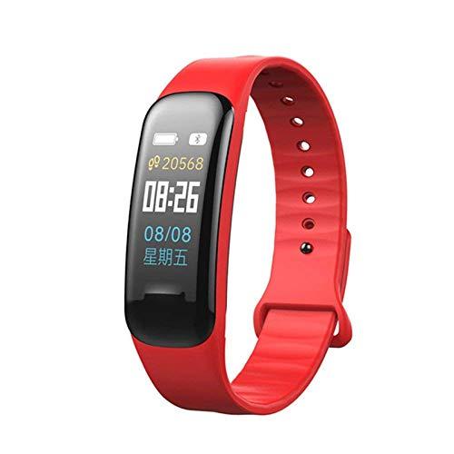 LXF JIAJU C1plus Smart Pulsera Watch Fitness Presión Arterial Tasa del Corazón Monitor Sleep Tracker Pulsera para Android iOS (Color : Red)